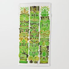 Tiki Totems – Green Beach Towel