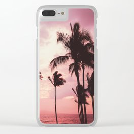 Tropical Palm Tree Pink Sunset Clear iPhone Case