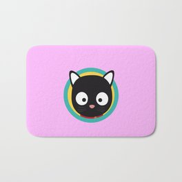 Black Cat with Green Circle Bath Mat