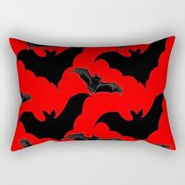 HALLOWEEN BATS ON BLOOD RED DESIGN Rectangular Pillow