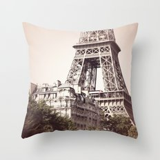 Paris, Eiffel tower between the buildings Throw Pillow