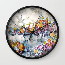Splashes Of Stained Glass by CheyAnne Sexton Wall Clock