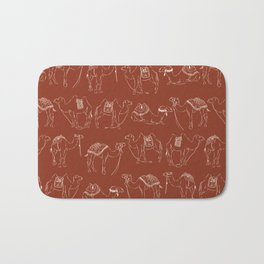 Linocut Camels No. 2 in Rust Bath Mat