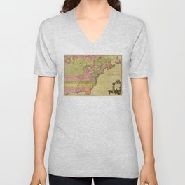 Map of North America by Kitchin, Mitchell and Millar (1755) Unisex V-Neck
