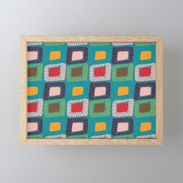 Mid Century Quilt Pink #homedecor Framed Mini Art Print