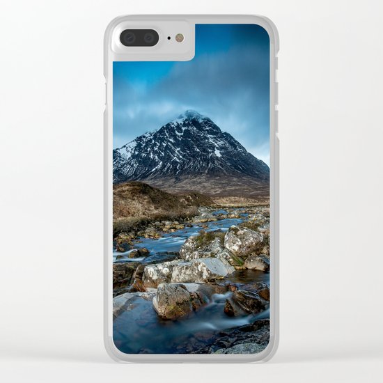 Mountain ice clouds blue Clear iPhone Case
