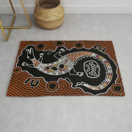 Aboriginal Crocodile Authentic Aboriginal Art Rug