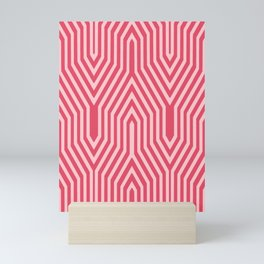 Art Deco Architectural Geometric, Coral and Shell Pink Mini Art Print