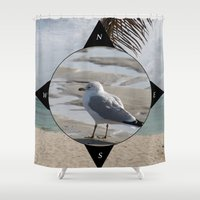 compass Shower Curtains featuring Compass by AnnaKatherineDesign