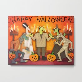 Unicorn Halloween Party Metal Print