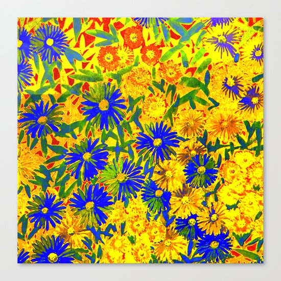 blue flowers by a sunny day Canvas Print