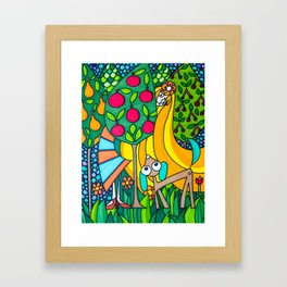 Strange Girl & Her Dog Framed Art Print