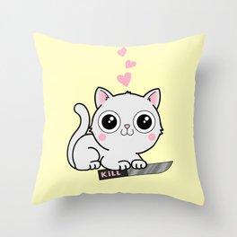 Kitty Hearts Kill - Cats Love Plotting Throw Pillow