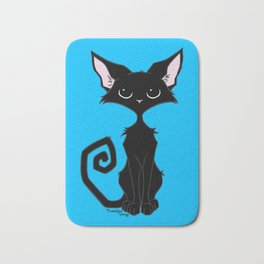 Black Cat - Cool Blue Bath Mat