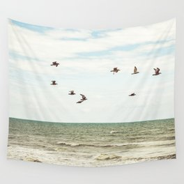 BIRDS - OCEAN - WAVES - SEA - PHOTOGRAPHY Wall Tapestry