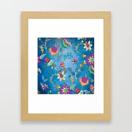 Blue Lapis Velvet Texture Chintz Multicolour Bohemian Floral Pattern Framed Art Print