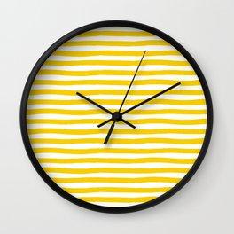 Yellow And White Horizontal Stripes Wall Clock