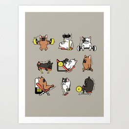 Leg Day with Frenchie Art Print