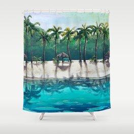 Honeymoon Beach Palm Shower Curtain