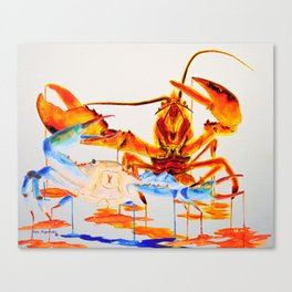 Blue Crab and Calico Lobster Canvas Print