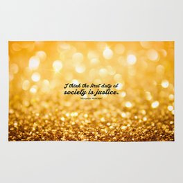 """I think the first... """"Alexander Hamilton"""" Inspirational Quote Rug"""