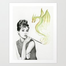 Audrey Hepburn and Dragon Art Print