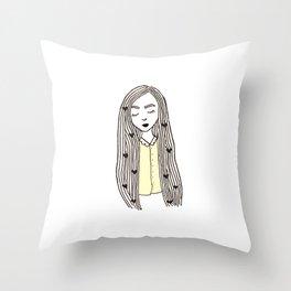 Yellow Girl Throw Pillow