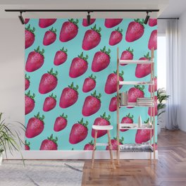 Fun Summery Strawberry Print With Light Blue Background! (Large Scale) Wall Mural