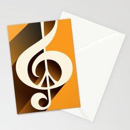 Retro Shadow Music & Peace, Orange Stationery Cards