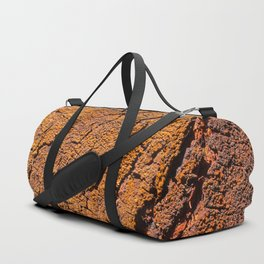 Orange tree bark with rustic wrinkles Duffle Bag