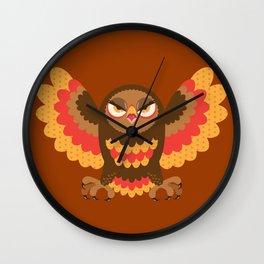 Angry Autumn Owl Wall Clock