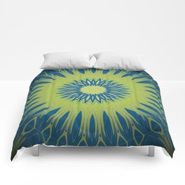 Bright Lime Green and Blue Mandala Comforters