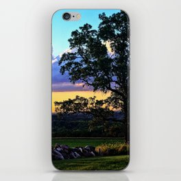 Country sunset - oak tree and stone wall silhouette iPhone Skin