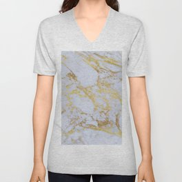 Awesome trendy modern faux gold glitter marble  Unisex V-Neck