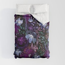 Deep Floral Chaos blue & violet Comforters