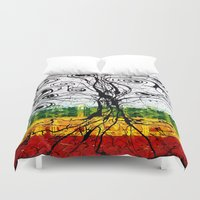 rasta Duvet Covers featuring Rasta Tree by mijumiART