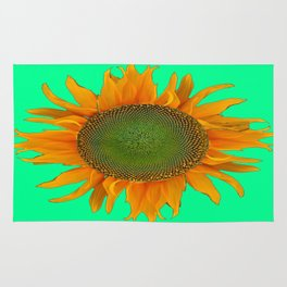 Desorative Turquoise-green Yellow Sunflower Art Rug