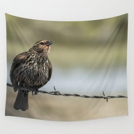 Female Red-winged Blackbird Puffed Up with Song Wall Tapestry