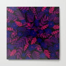 Neon Floral Print Metal Print