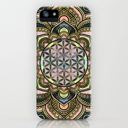 Flower of Life in Lotus - Marble and Gold iPhone Case