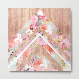 Vintage floral watercolor rustic brown wood geometric triangles Metal Print