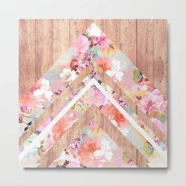 Vintage floral watercolor rustic brown wood geometric triangles Metal Print