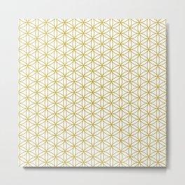Flower of Life Pattern – Gold & White Metal Print
