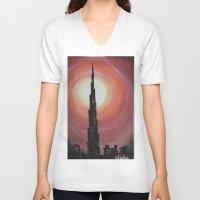 wiz khalifa V-neck T-shirts featuring Burj Khalifa by sladja