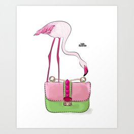 Flamingo bag Art Print