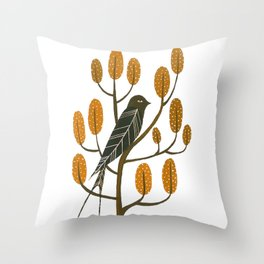 Swallow - golden brown Throw Pillow