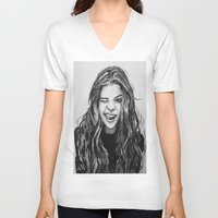 selena gomez V-neck T-shirts featuring Hello Selena! by vooce & kat