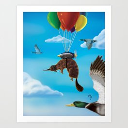 Flying with Cousins Art Print