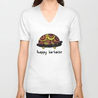 tortoise V-neck T-shirts featuring Happy Tortoise by Farnell