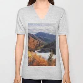 Lake Britton into the Pit River in the Fall Unisex V-Neck